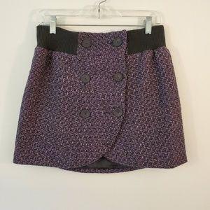 Silence + Noise mini purple and black tweed skirt